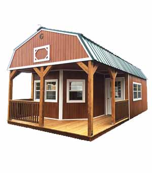 Urethane Wraparound Porch Lofted Barn Cabin